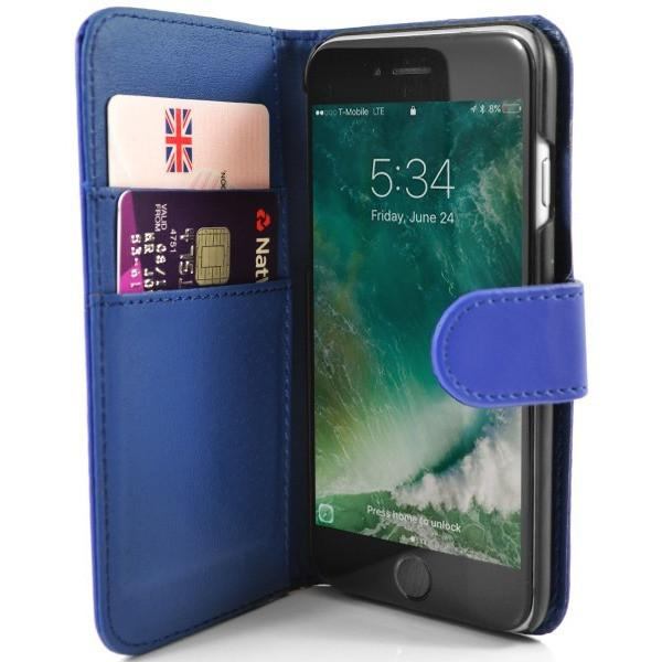 iPhone 7 Plus- Classic PU Leather Card Wallet Protective Case Blue