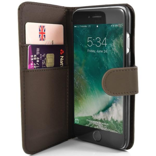 iPhone 7 Plus- Classic PU Leather Card Wallet Protective Case Brown
