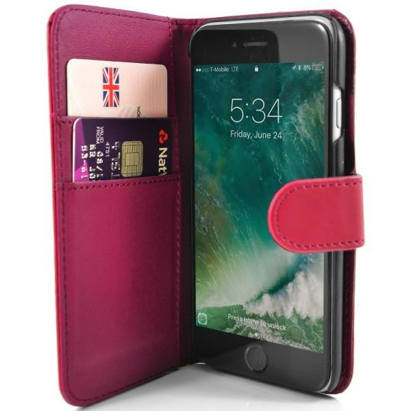 iPhone 7 Plus- Classic PU Leather Card Wallet Protective Case Hot Pink