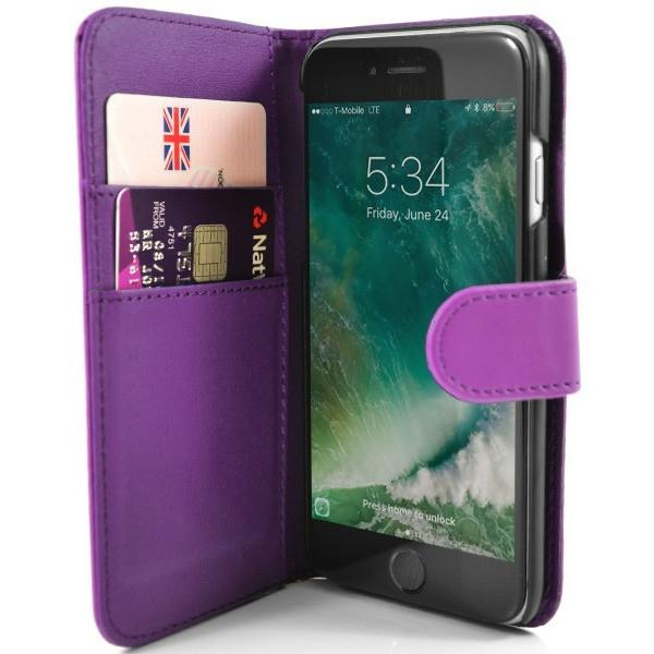 Purple PU Leather Wallet Case for Apple iPhone 7 Plus