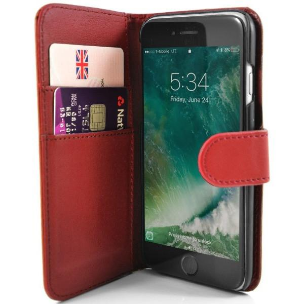 iPhone 7 Plus- Classic PU Leather Card Wallet Protective Case Red