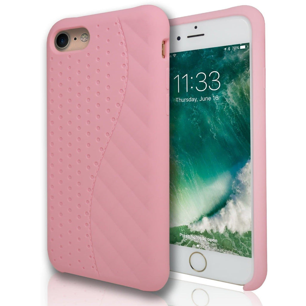 Apple iPhone 8 Matte Dot Grid Silicone Case - Baby Pink