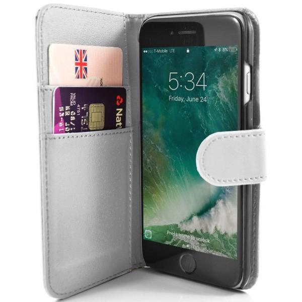 iPhone 7 Plus- Classic PU Leather Card Wallet Protective Case White