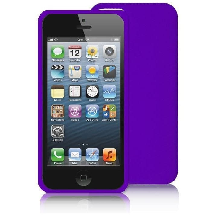 iPhone 5 / 5S / SE - Slim Fitted Soft Silicone Rubber Skin Case - Purple
