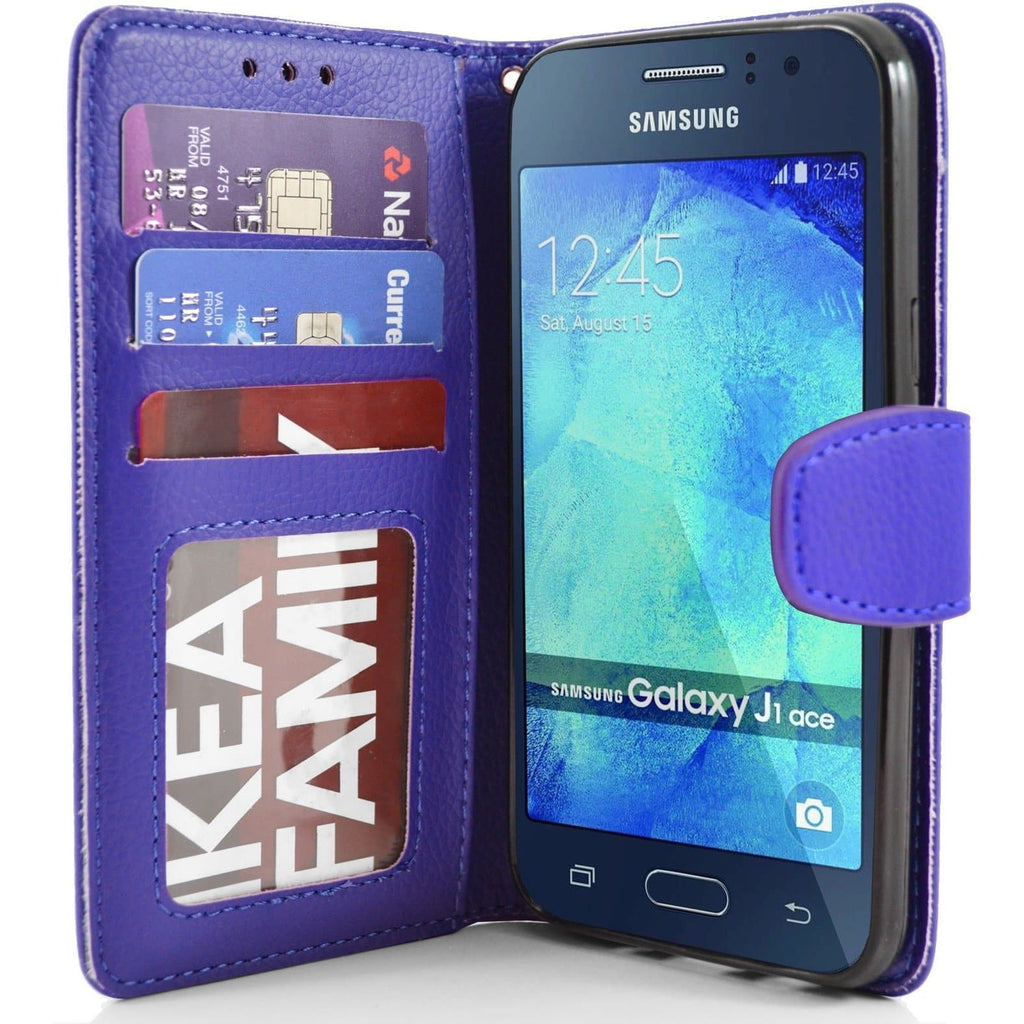 Samsung Galaxy J1 Ace PU Leather Wallet Case - Blue