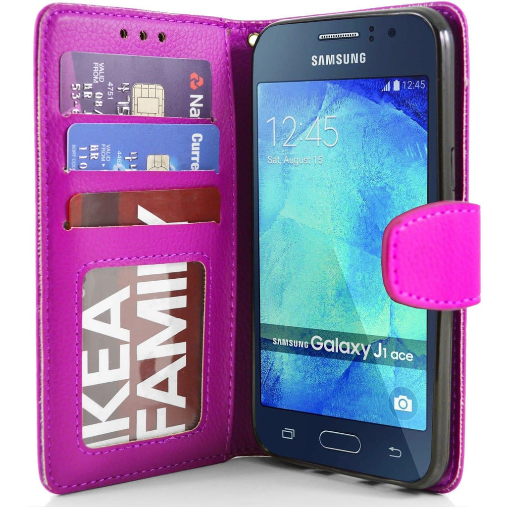 Samsung Galaxy J1 Ace PU Leather Wallet Case - Pink