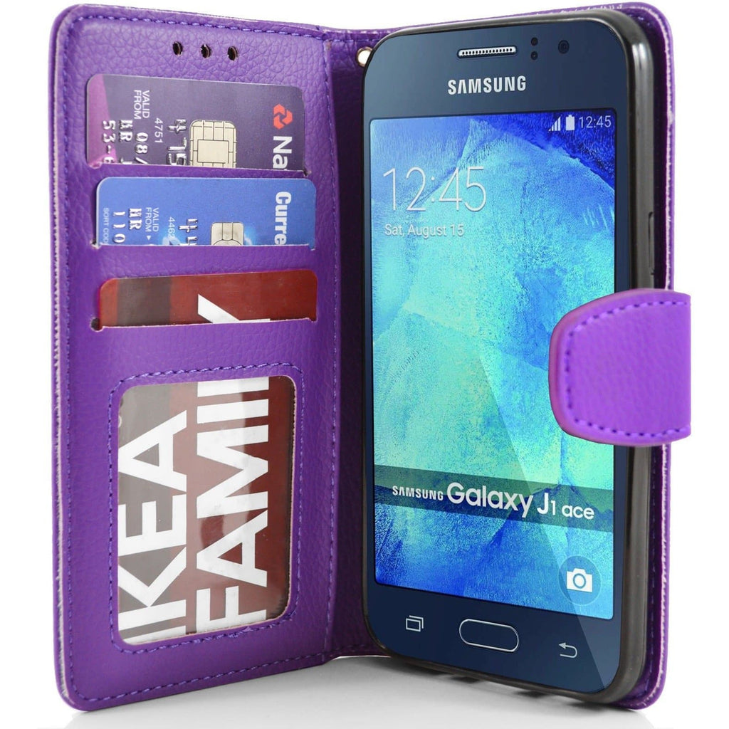 Samsung Galaxy J1 Ace PU Leather Wallet Case - Purple