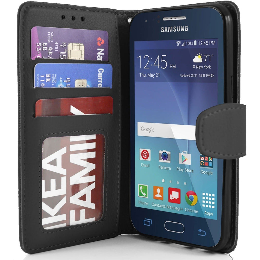 Samsung Galaxy J1 PU Leather Wallet Case - Black