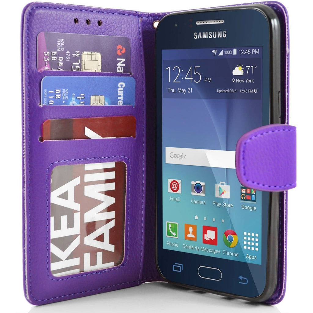 Samsung Galaxy J1 PU Leather Wallet Case - Purple