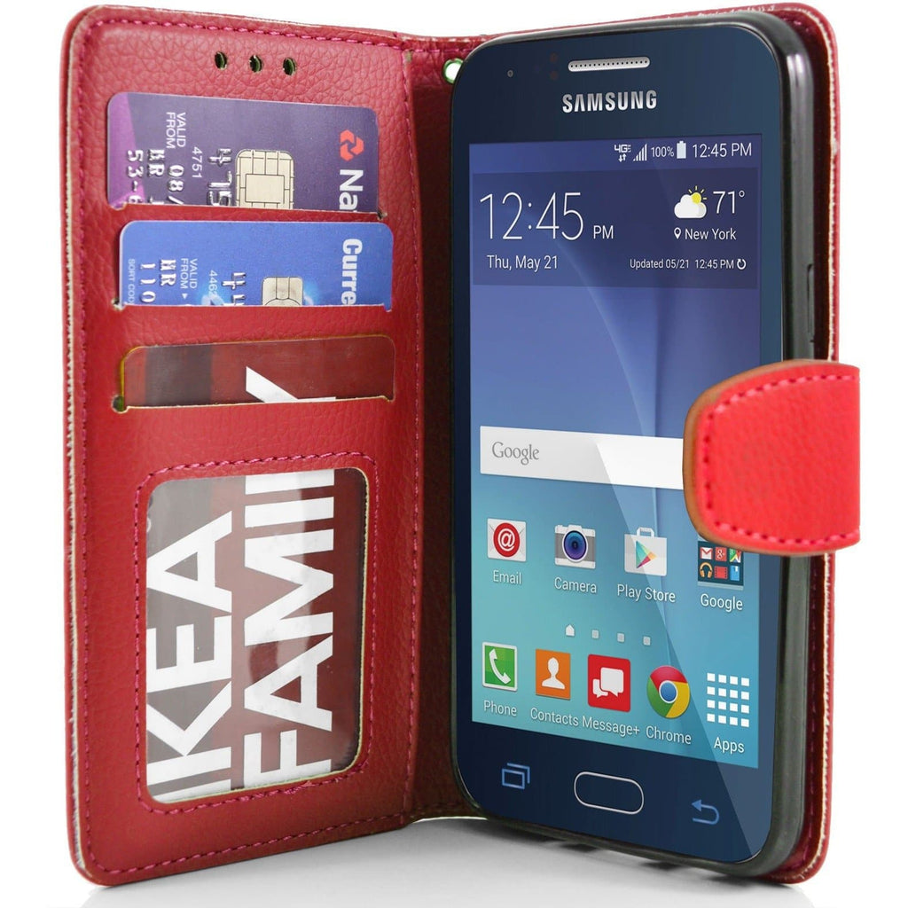 Samsung Galaxy J1 PU Leather Wallet Case - Red