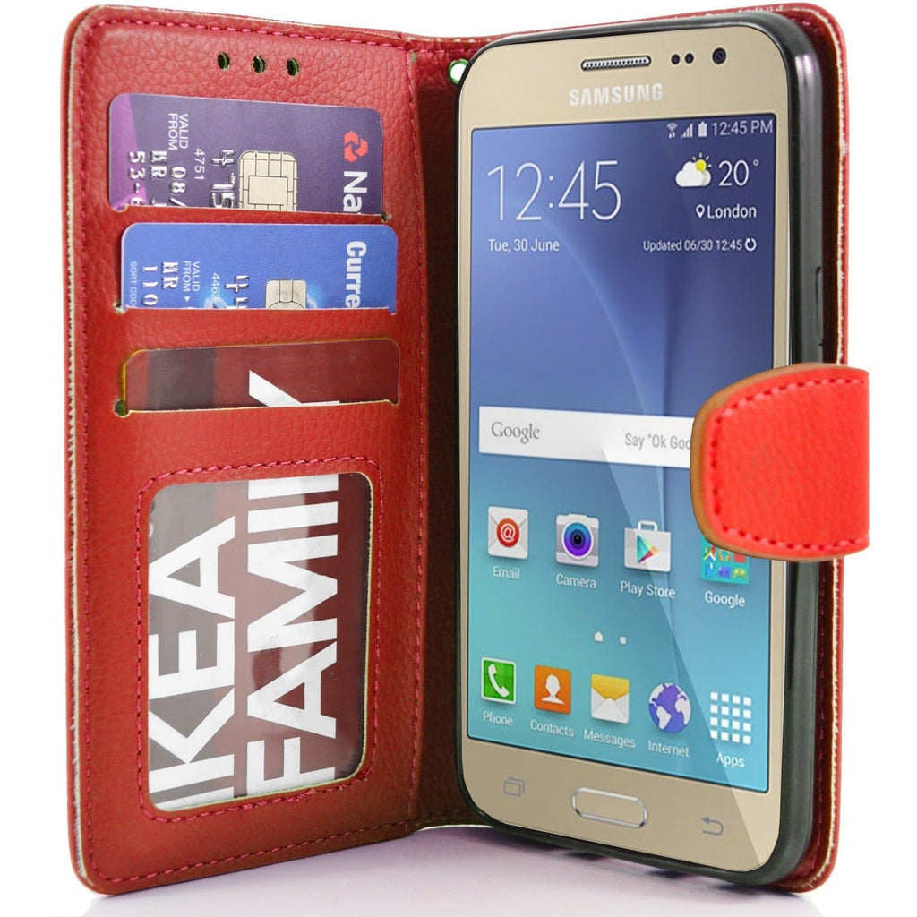 Samsung Galaxy J2 PU Leather Wallet Case - Red