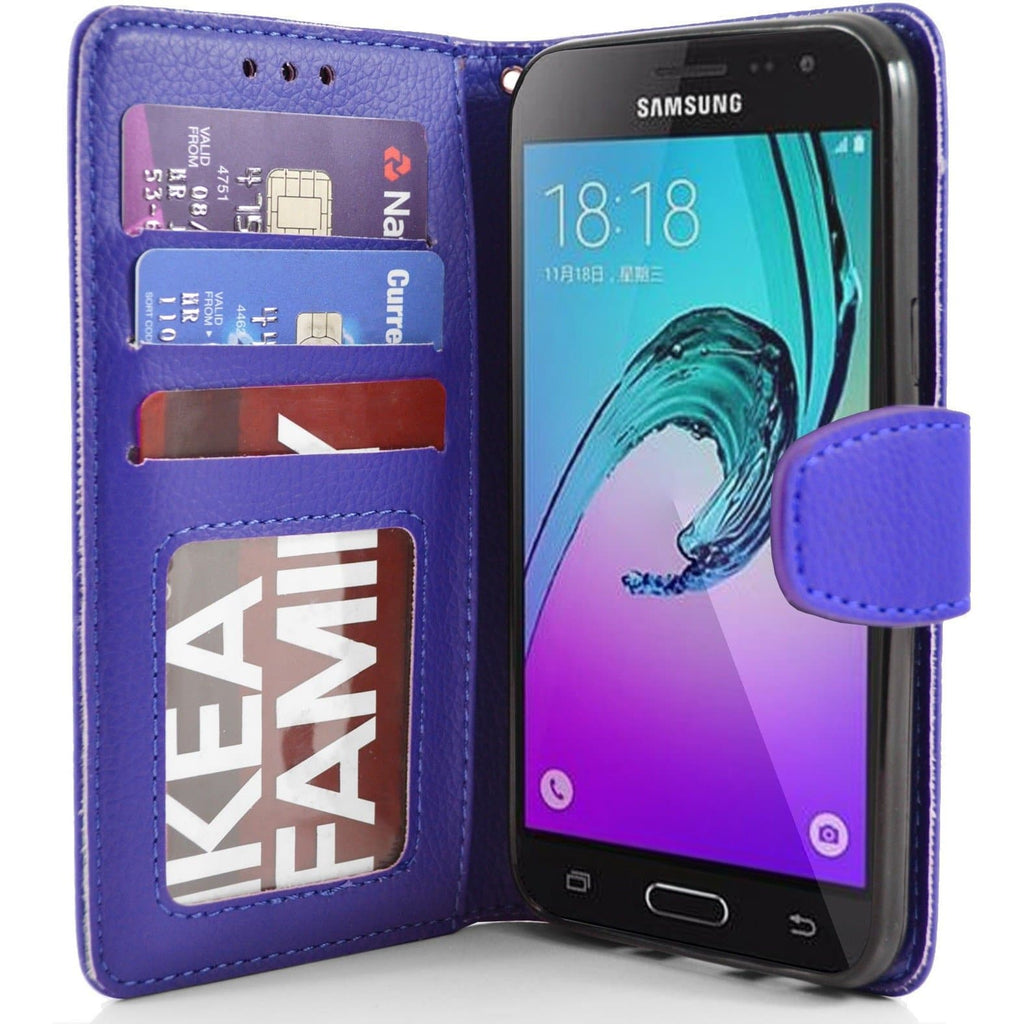 Samsung Galaxy J3 PU Leather Wallet Case - Blue