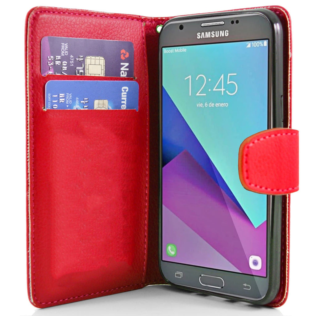 check out 29963 10cc1 Samsung Galaxy J3 2017 PU Leather Wallet Case - Red