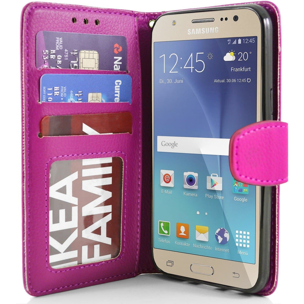 Samsung Galaxy J5 PU Leather Wallet Case - Pink