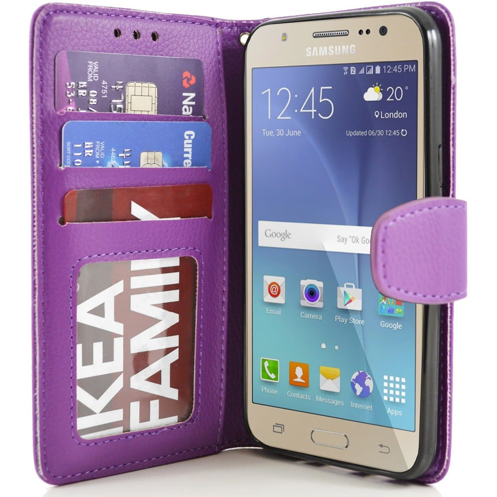 Samsung Galaxy J5 PU Leather Wallet Case - Purple