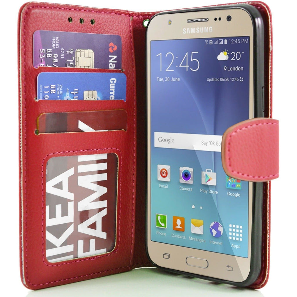 Samsung Galaxy J5 PU Leather Wallet Case - Red