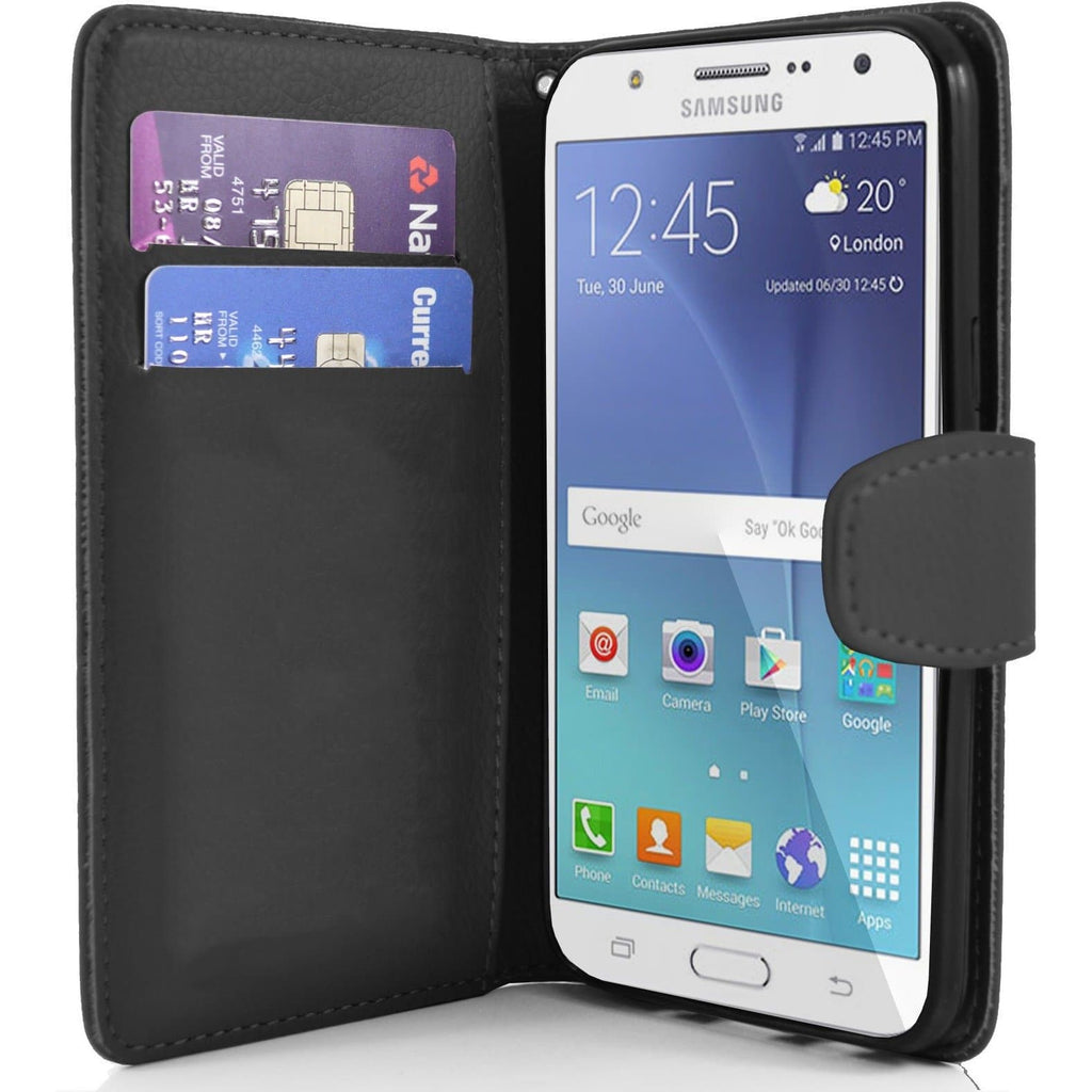Samsung Galaxy J7 PU Leather Wallet Case - Black
