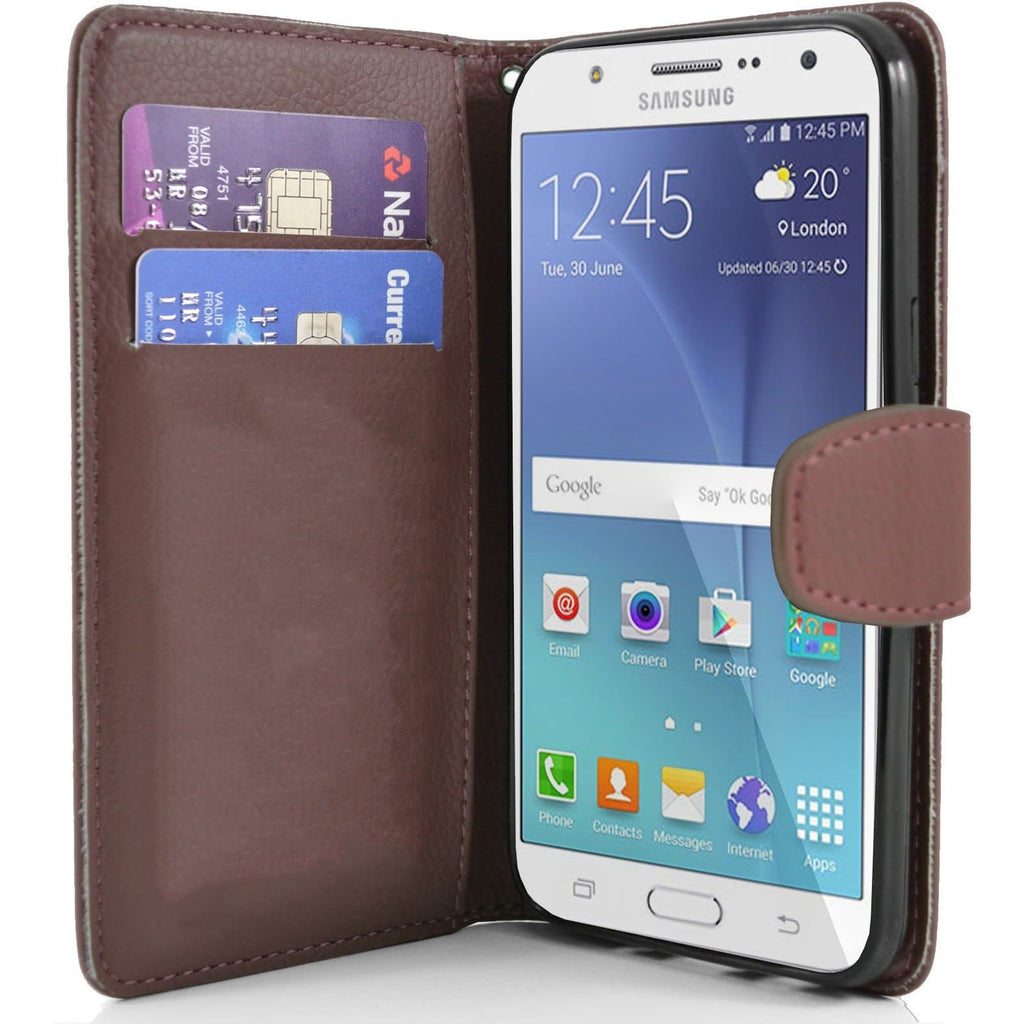 Samsung Galaxy J7 PU Leather Wallet Case - Brown
