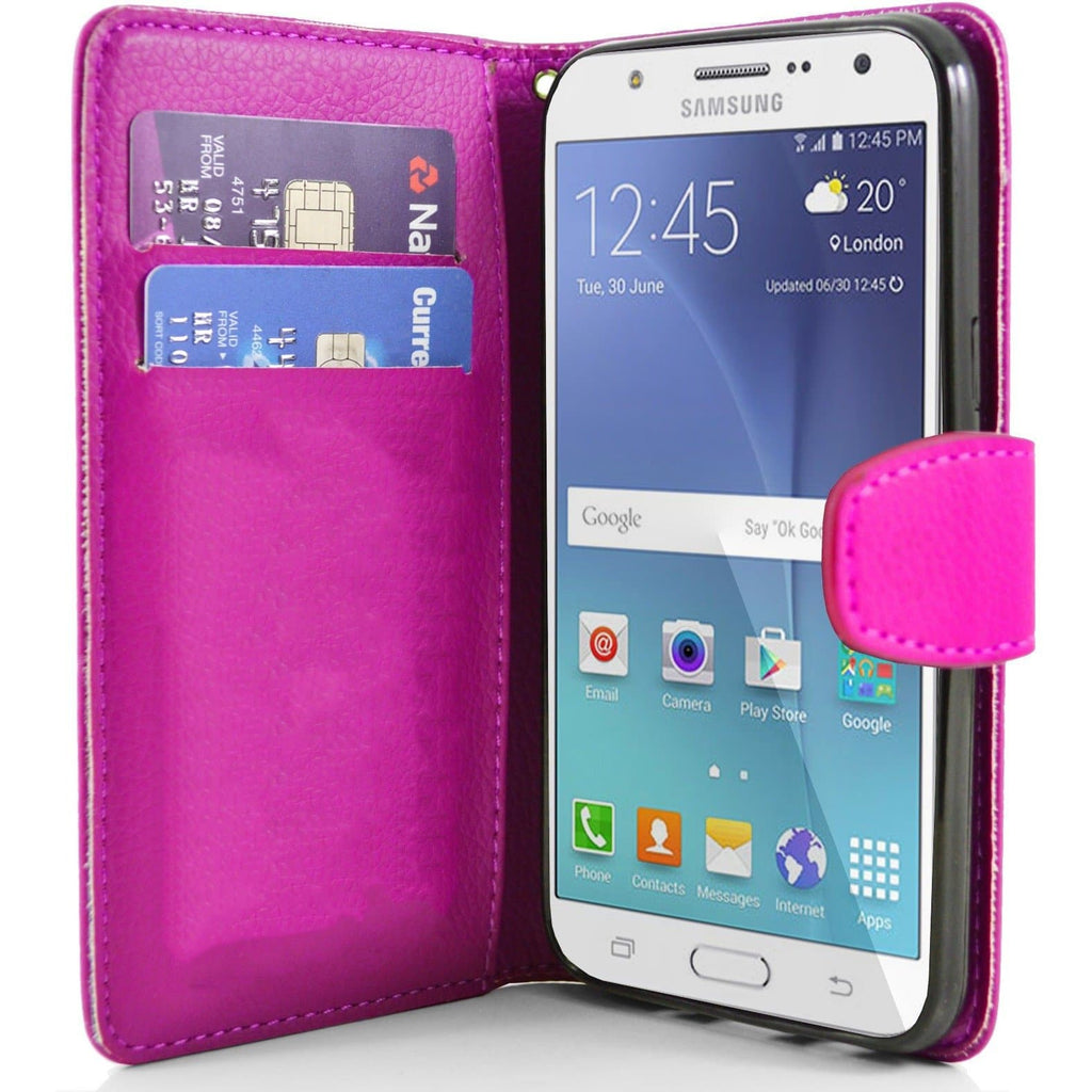 Samsung Galaxy J7 PU Leather Wallet Case - Pink