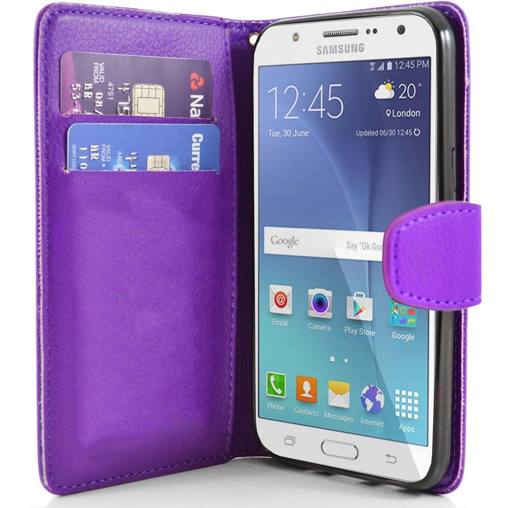 Samsung Galaxy J7 PU Leather Wallet Case - Purple