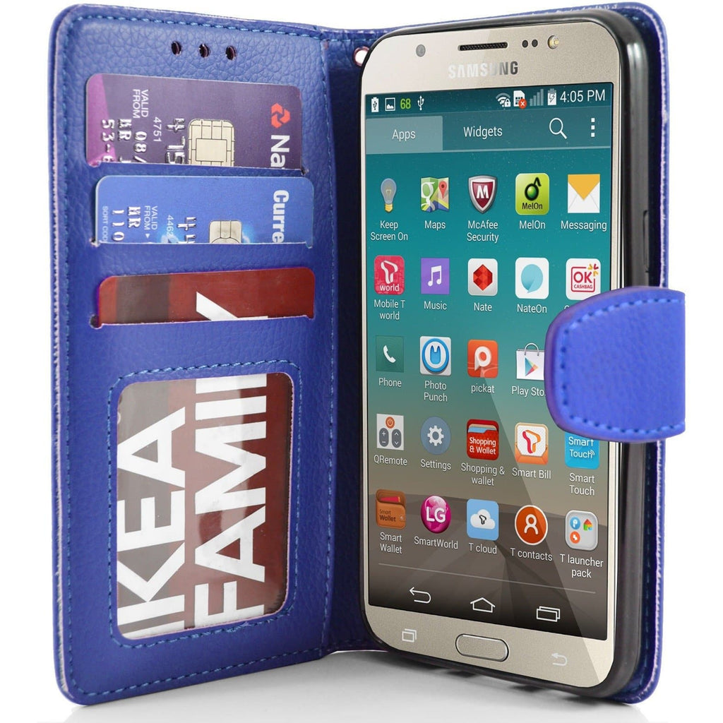 Samsung Galaxy J7 2016 PU Leather Wallet Case - Blue