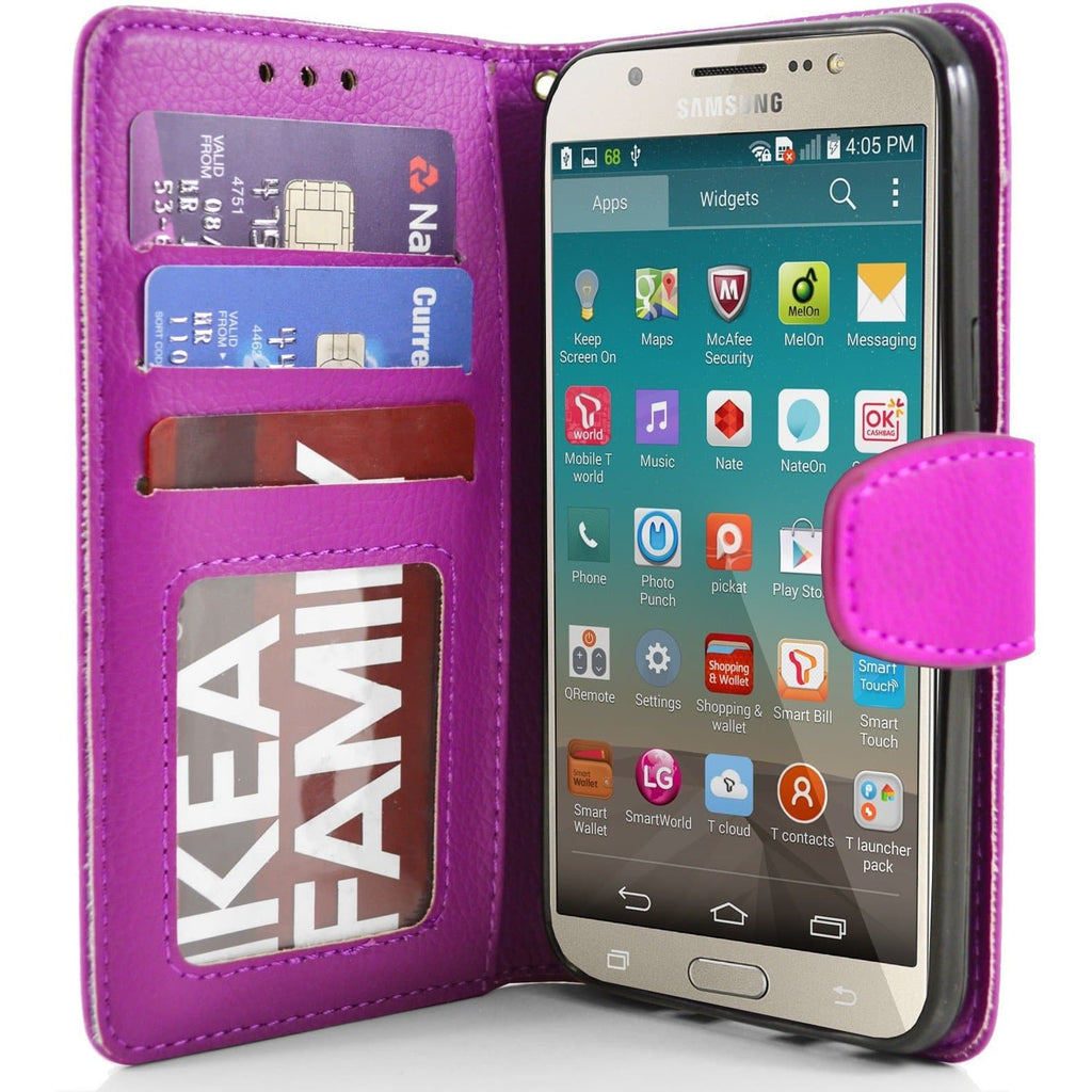 Samsung Galaxy J7 2016 PU Leather Wallet Case - Pink