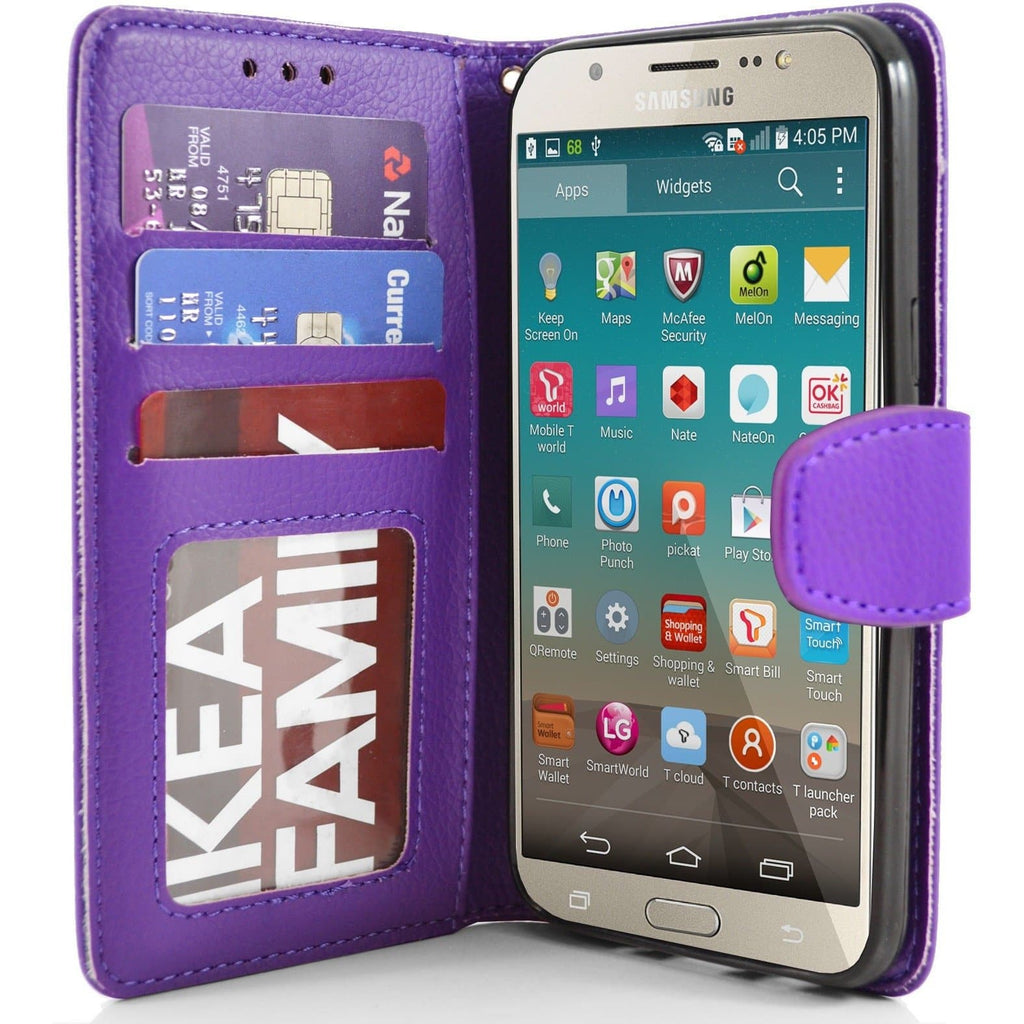 Samsung Galaxy J7 2016 PU Leather Wallet Case - Purple