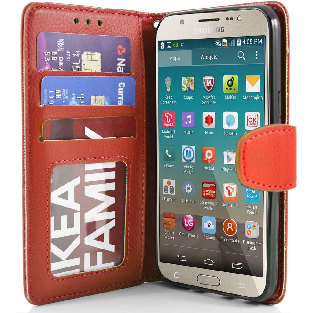 Samsung Galaxy J7 2016 PU Leather Wallet Case - Red