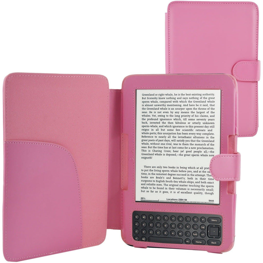 Kindle Cases - Pink Amazon Kindle 3 PU Leather Magnetic Case