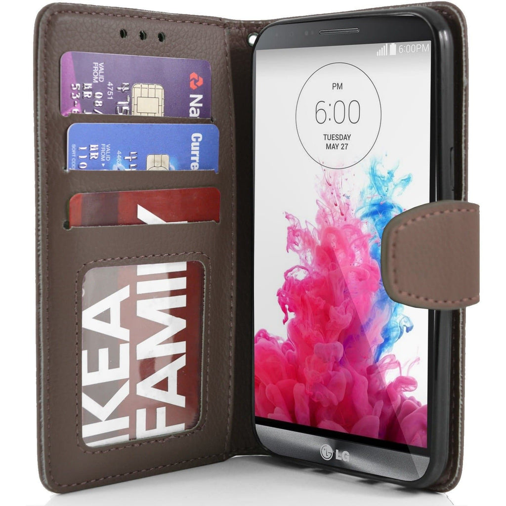 LG G3 PU Leather Wallet Case - Brown
