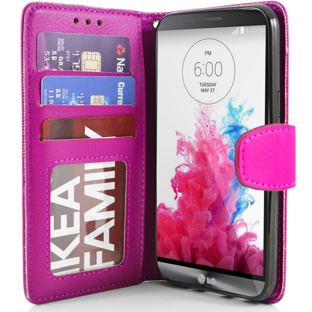 LG G3 PU Leather Wallet Case - Pink
