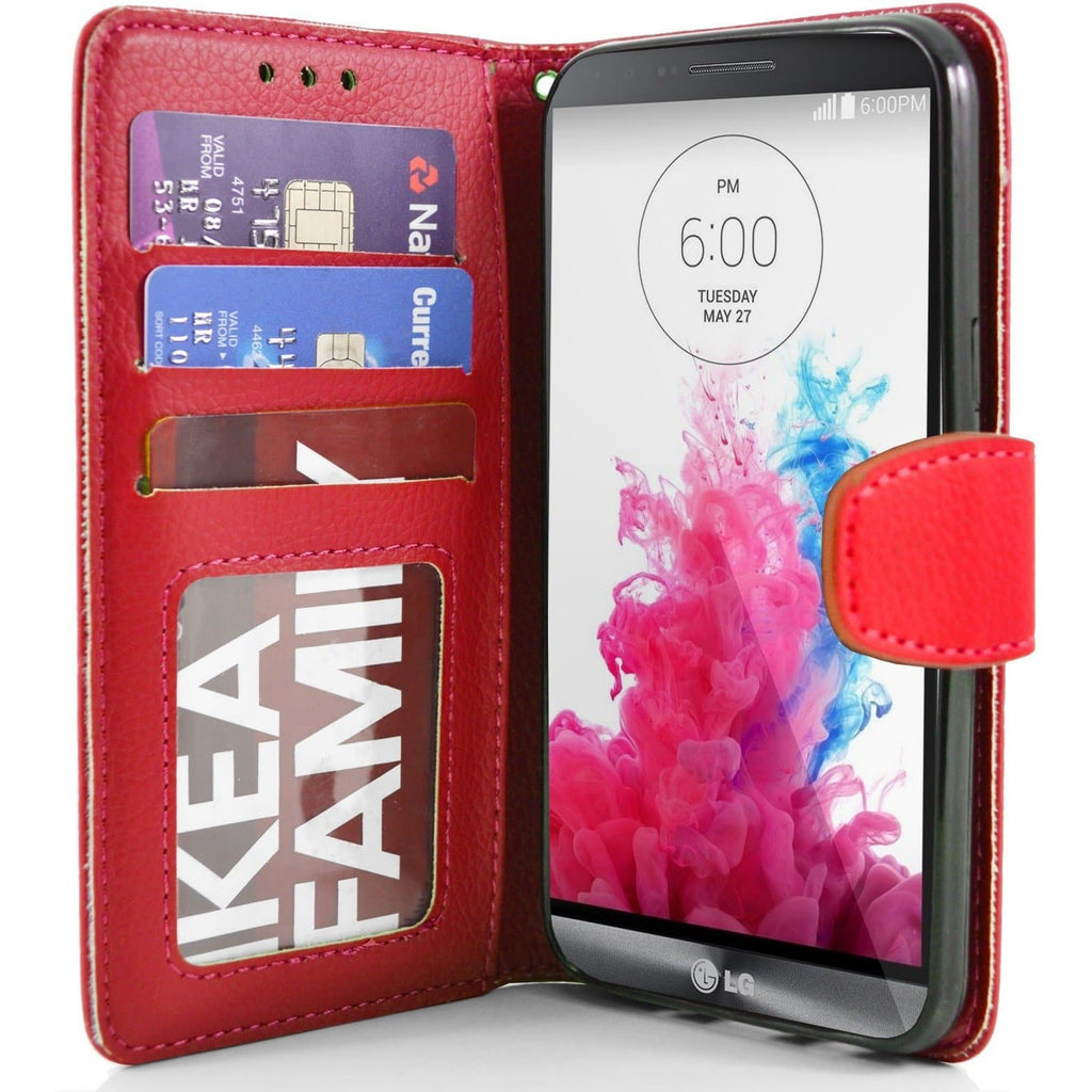 LG G3 PU Leather Wallet Case - Red