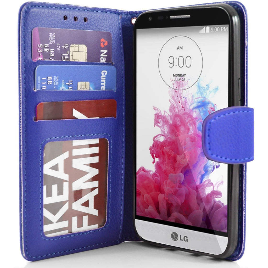 LG G3 s (Mini) PU Leather Wallet Case - Blue