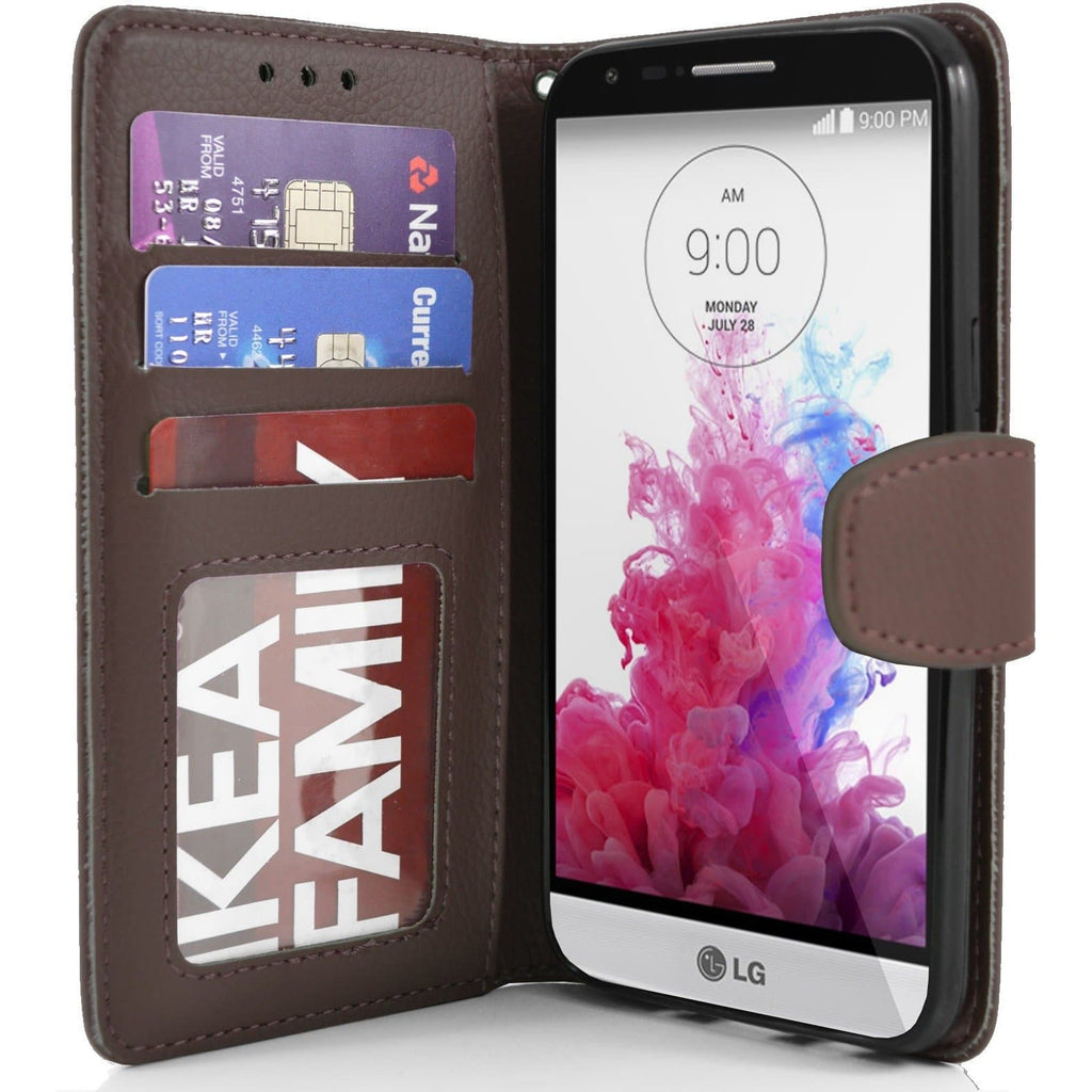 LG G3 s (Mini) PU Leather Wallet Case - Brown