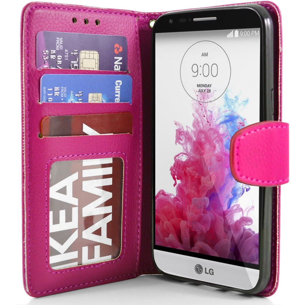 LG G3 s (Mini) PU Leather Wallet Case - Pink