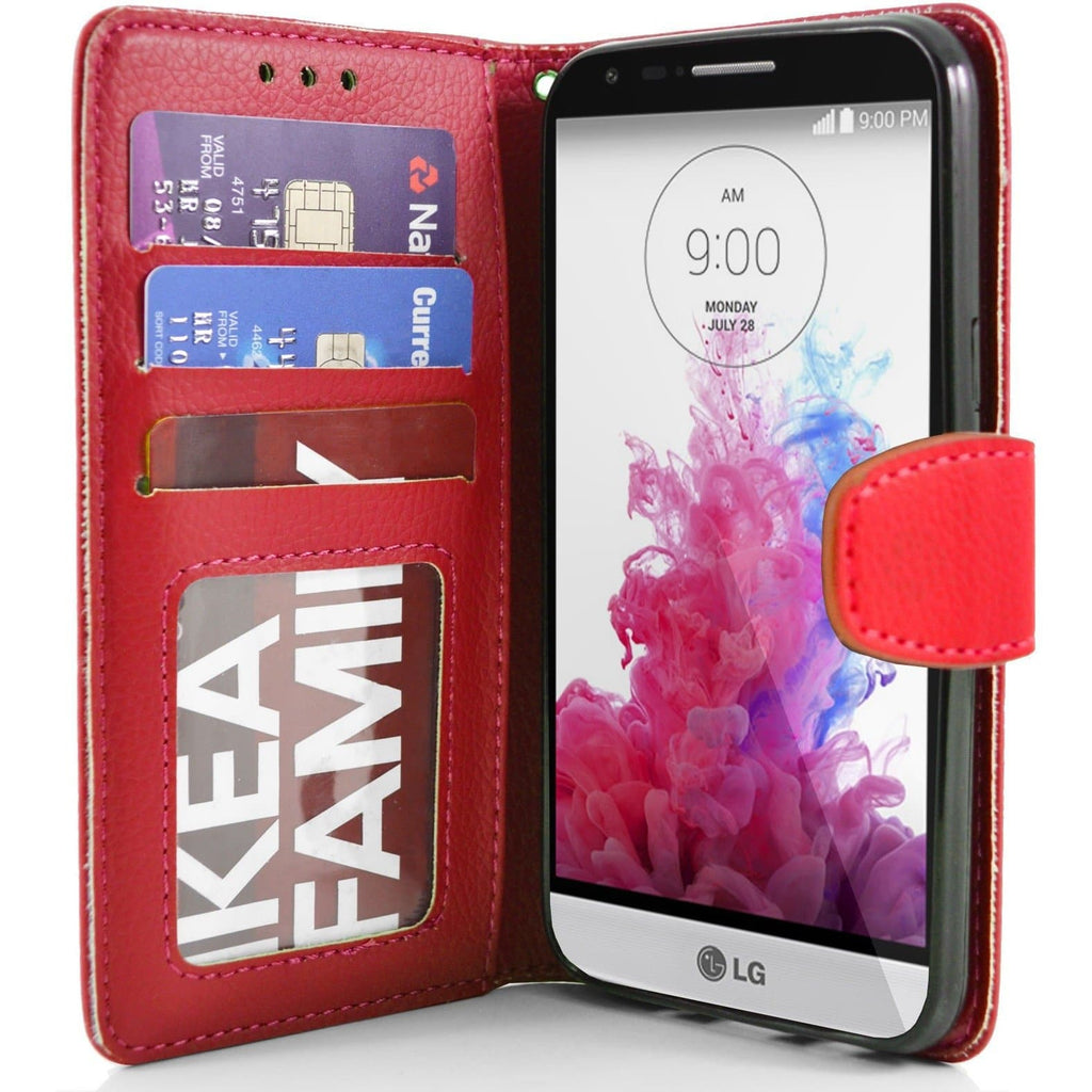 LG G3 s (Mini) PU Leather Wallet Case - Red