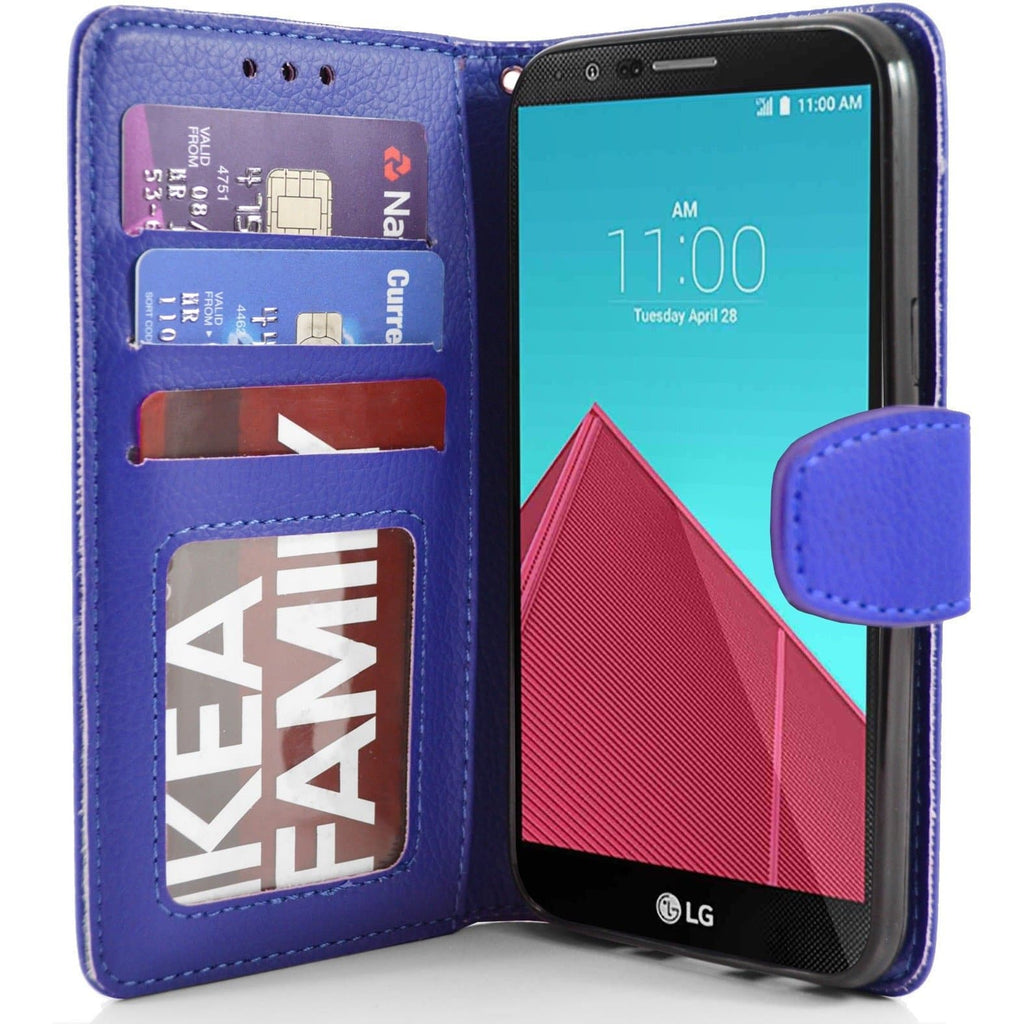 LG G4 PU Leather Wallet Case - Blue