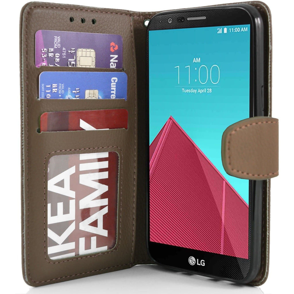 LG G4 PU Leather Wallet Case - Brown