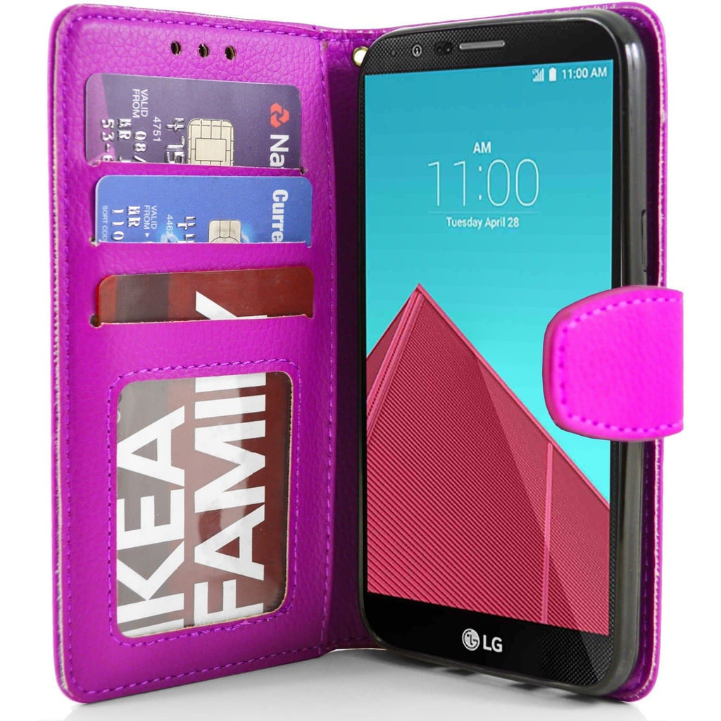 LG G4 PU Leather Wallet Case - Pink