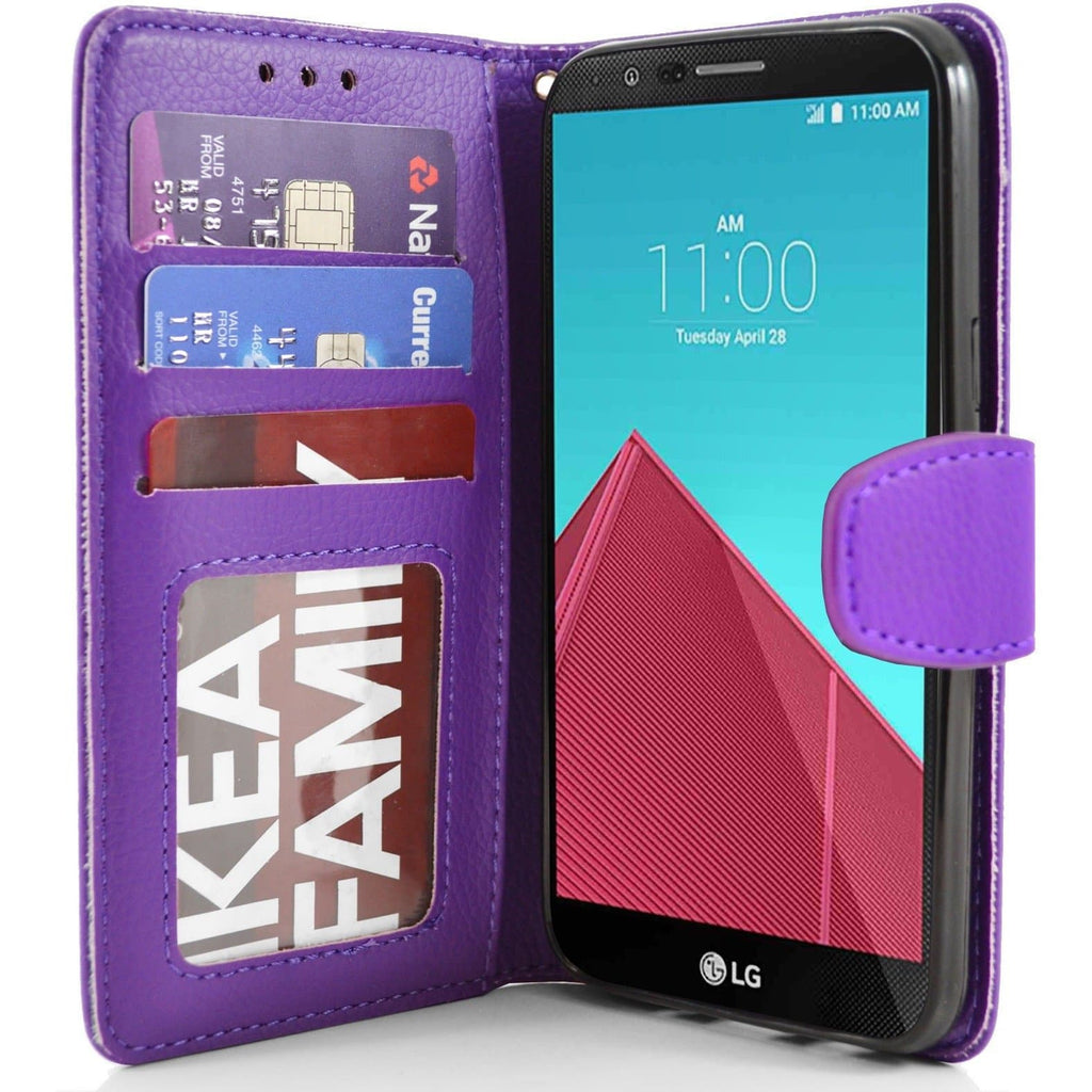 LG G4 PU Leather Wallet Case - Purple