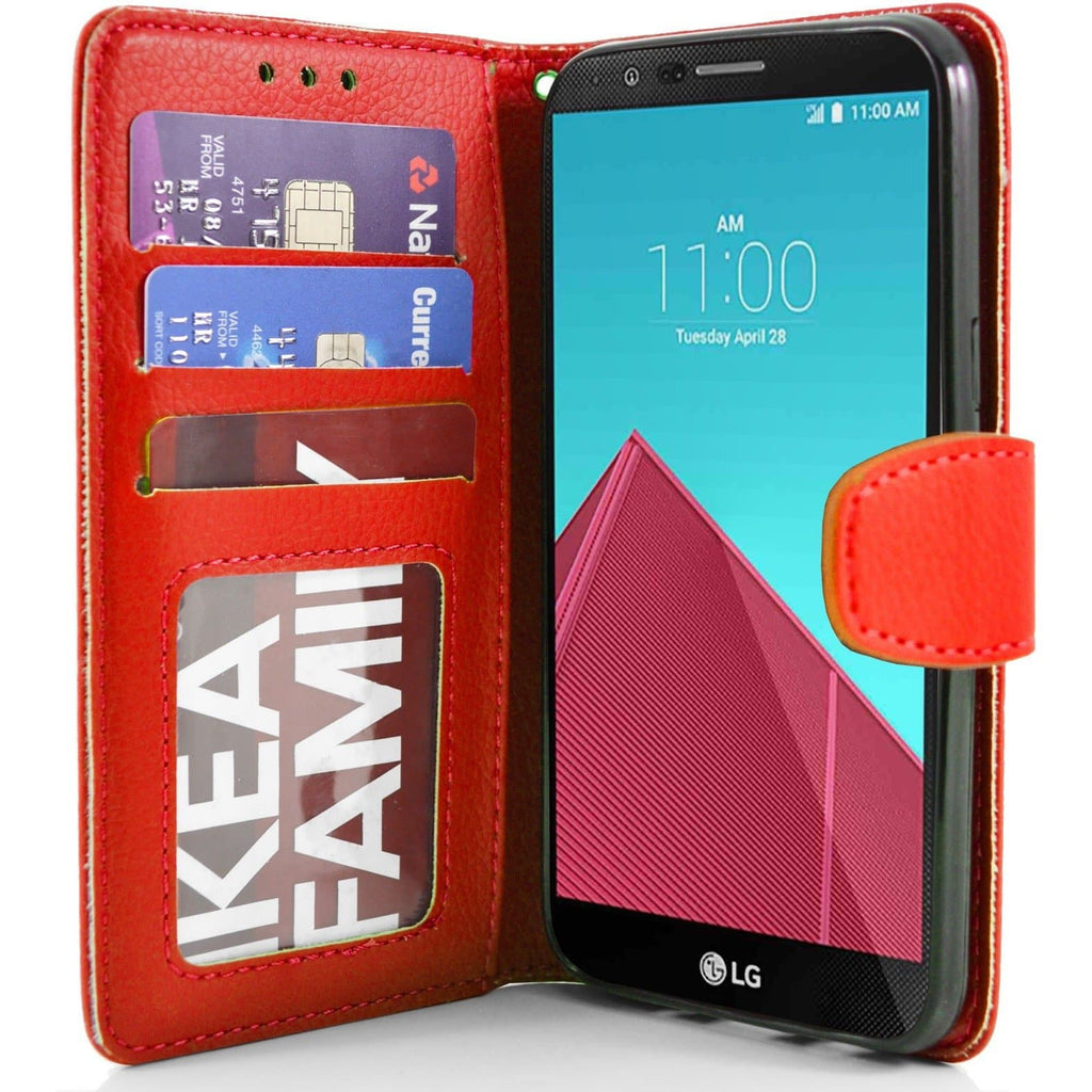 LG G4 PU Leather Wallet Case - Red
