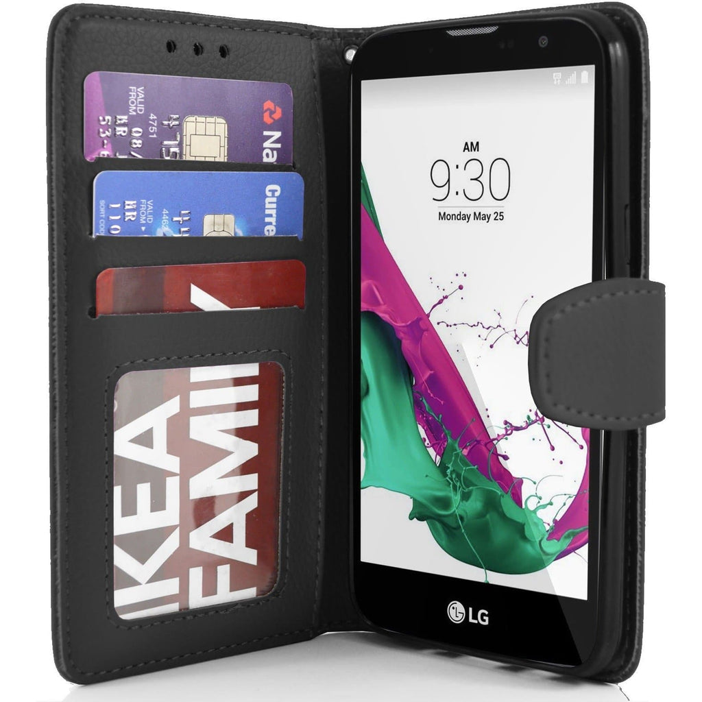 LG G4C PU Leather Wallet Case - Black