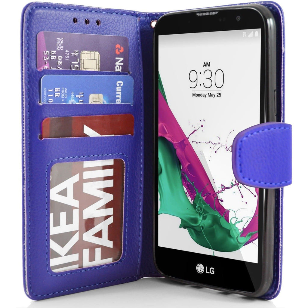 LG G4C PU Leather Wallet Case - Blue