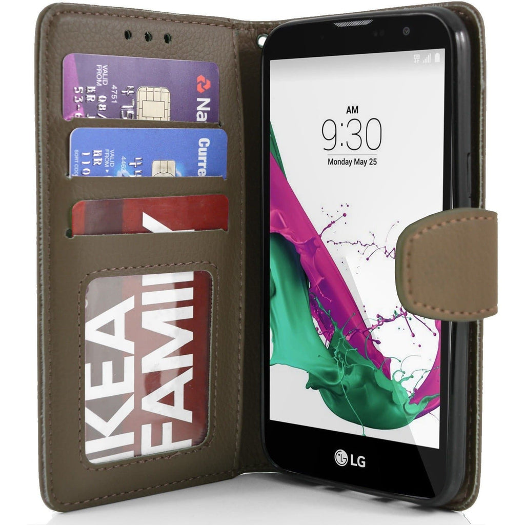 LG G4C PU Leather Wallet Case - Brown