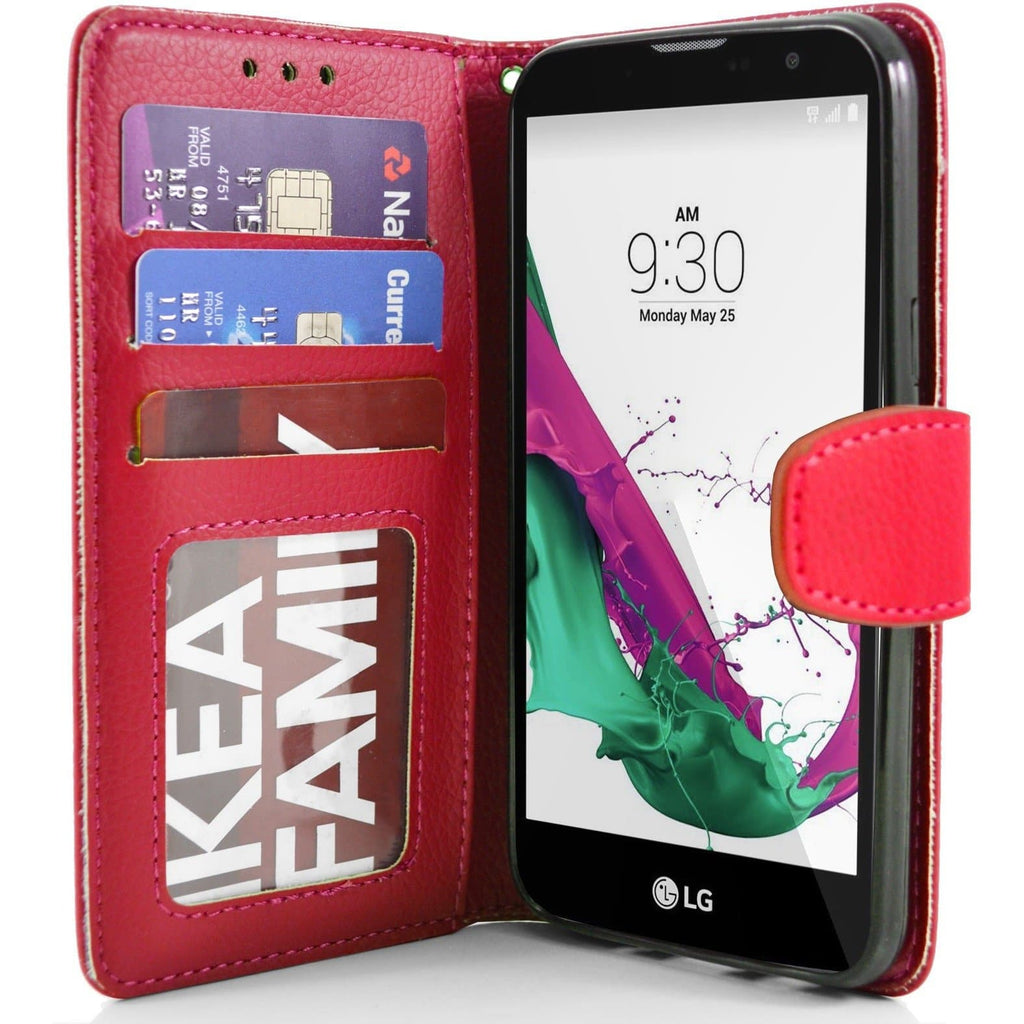LG G4C PU Leather Wallet Case - Red