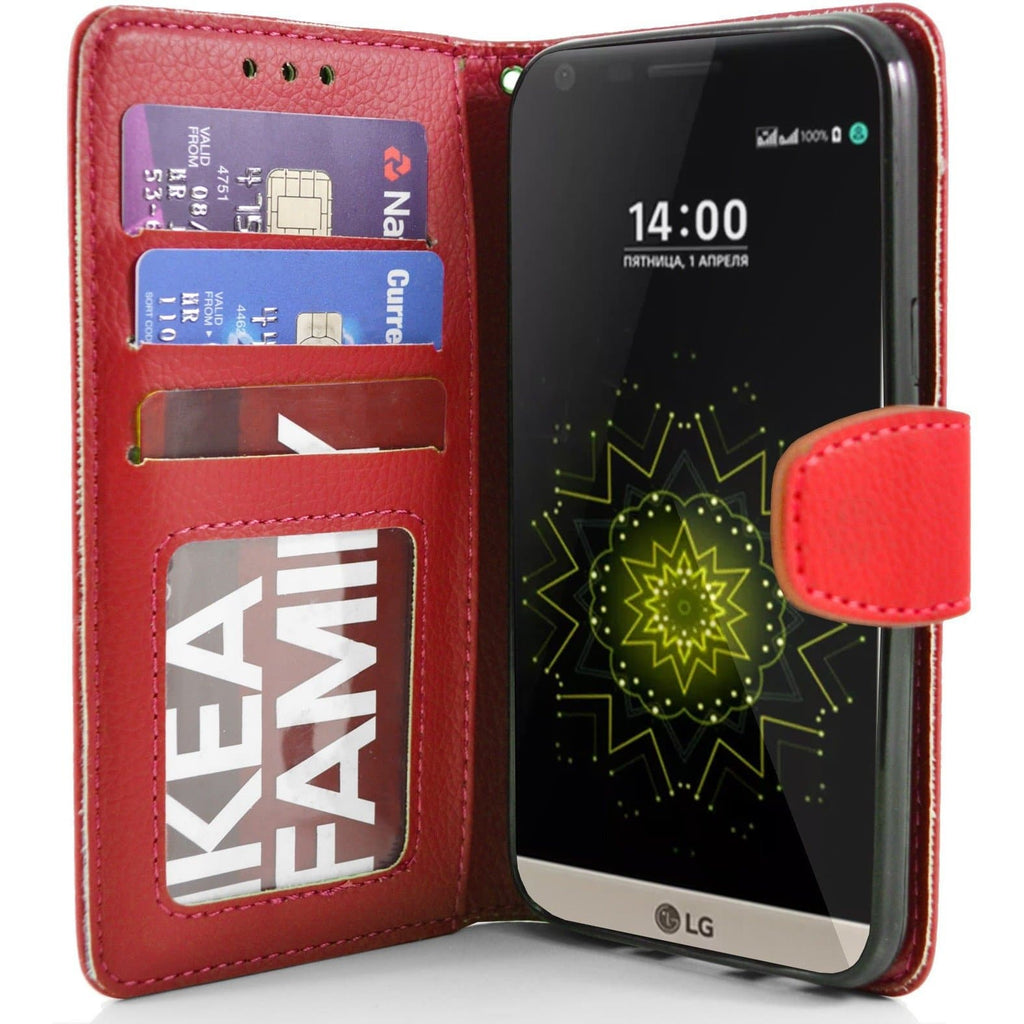 LG G5 PU Leather Wallet Case - Red