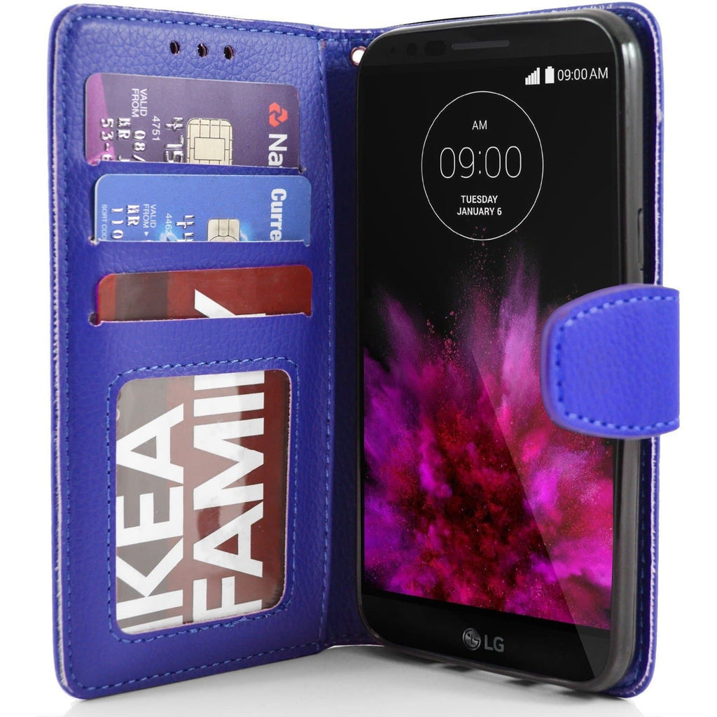 LG G Flex2 PU Leather Wallet Case - Blue