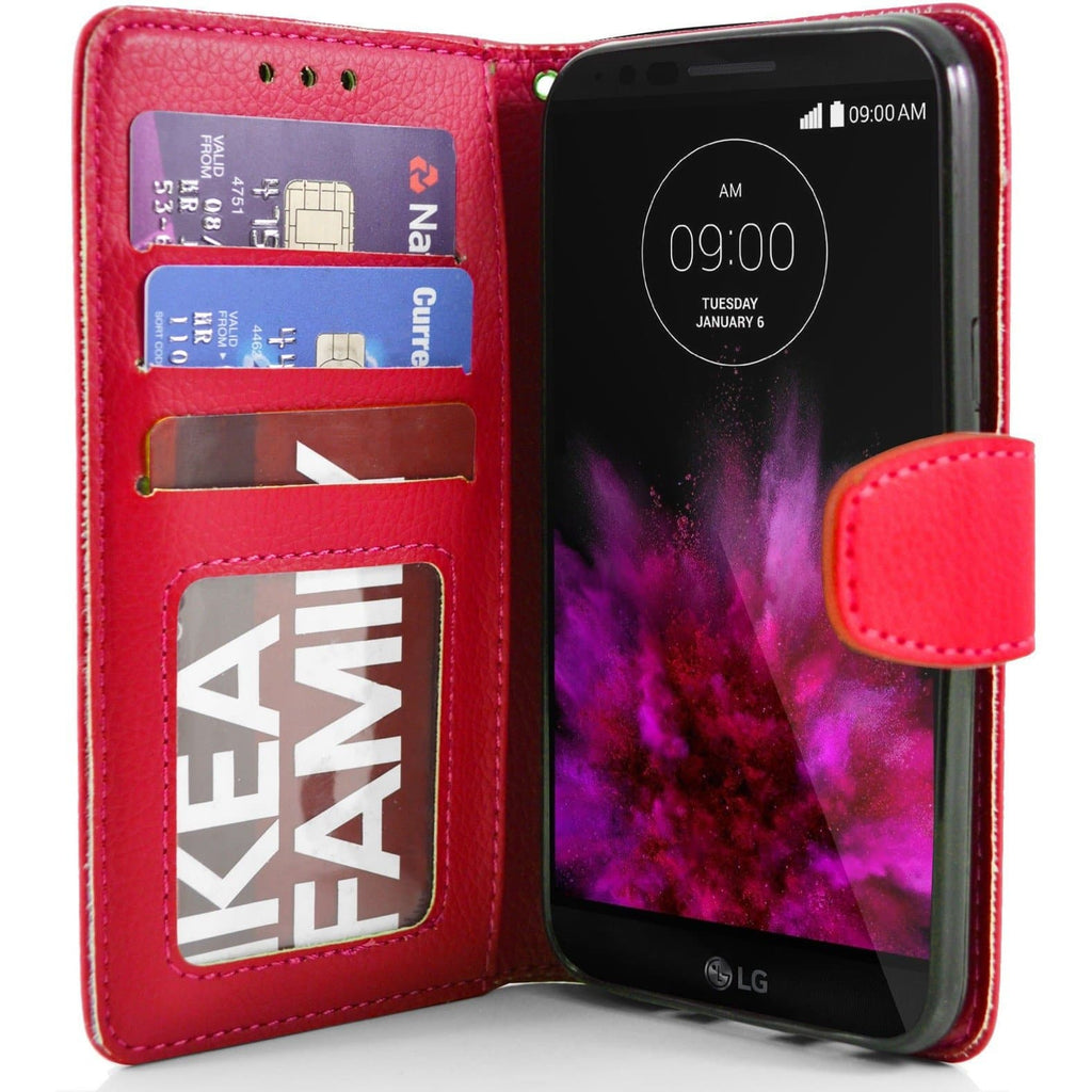 LG G Flex2 PU Leather Wallet Case - Red