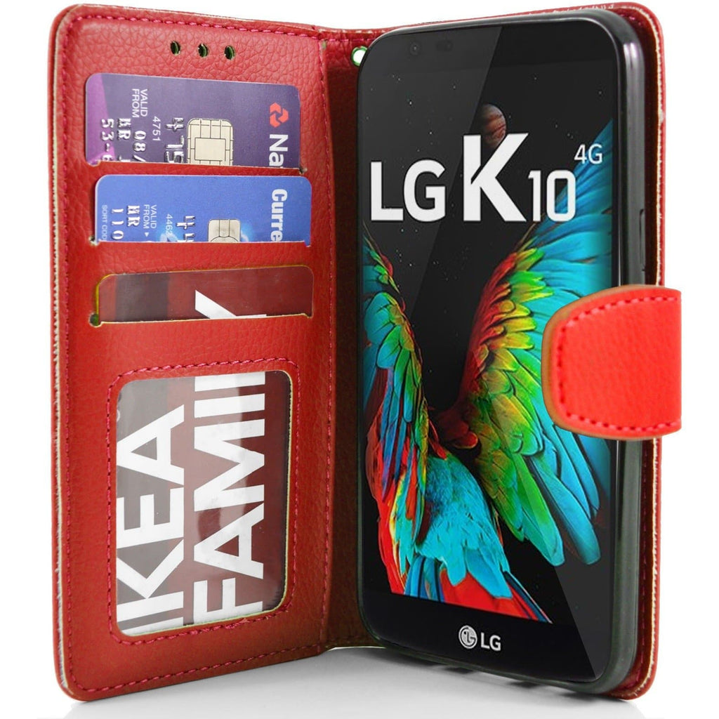 LG K10 PU Leather Wallet Case - Red