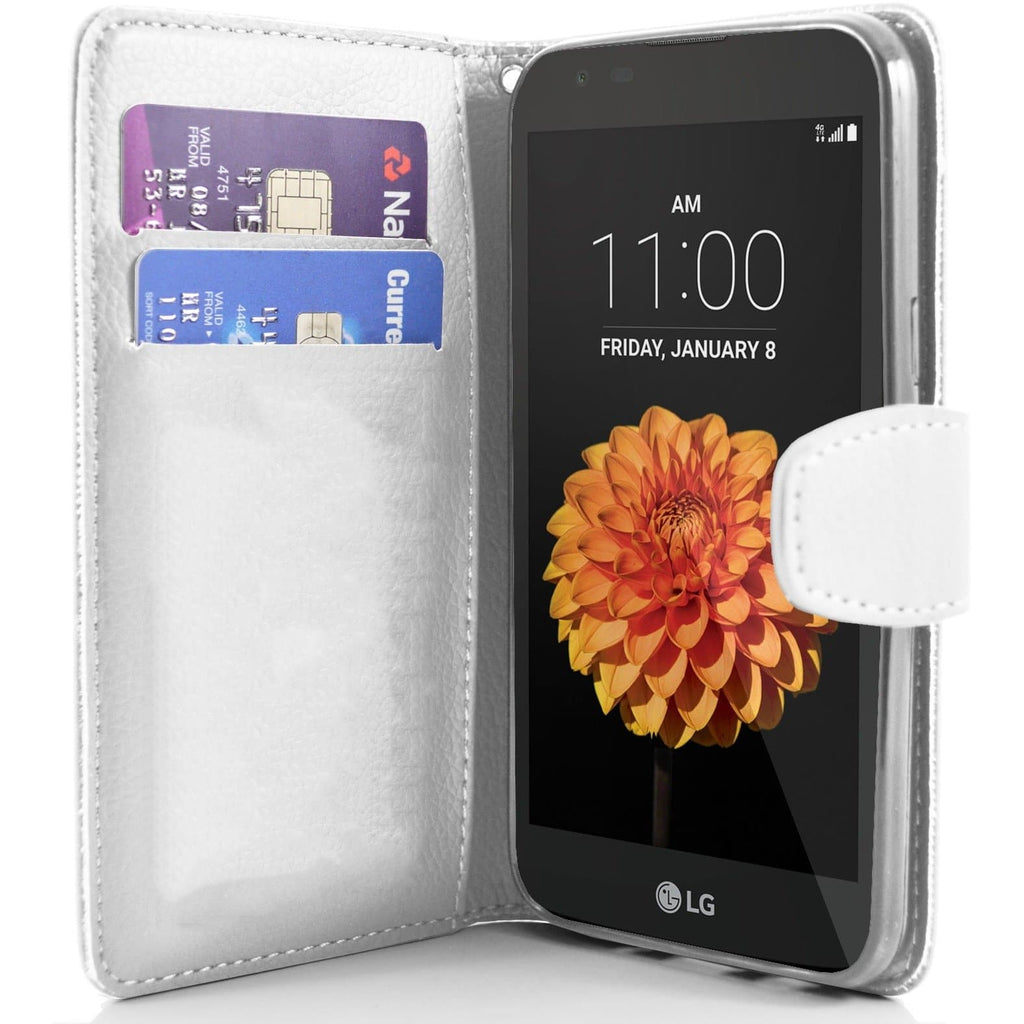 LG K7 PU Leather Wallet Case - White